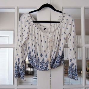 Crop Long Sleeve Off the Shoulders Blouse - Size S